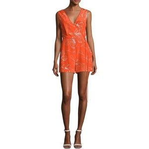 DVF | Side Tie Pelier Floral Orange Romper